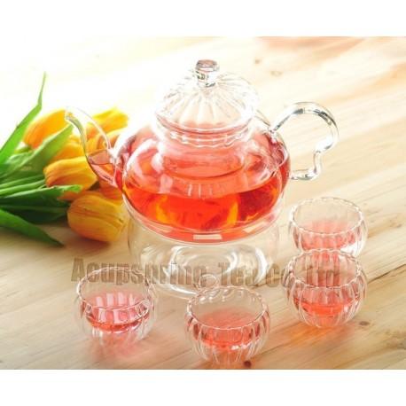 800ml Pumpkin Glass Coffee/Tea Pot+ 4pcs Double-wall Cup+ Warmer, Good Gift, B06SD, Free Shipping