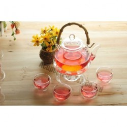 600ml Glass teapot+4 Cup+Warmer,Bamboo Handle, B034D, Free Shipping