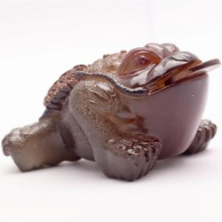Allochroic Mascot, Yellow Mony Toad Ornament, tea pet, Fengshui,Best Gifts,Novel present, arts&Crafts,will change color