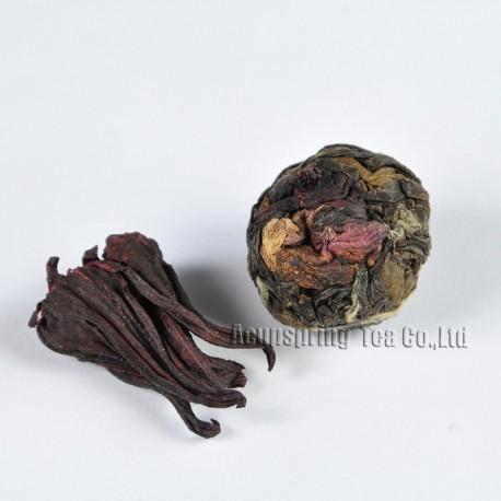 Roselle White Tea,Organic 2006 aged White Peony,100% natural Chinese Herbal,Handmade Anti-age tea